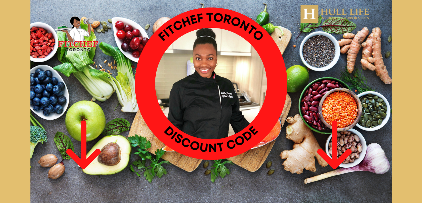 FitChef Toronto Founder Amanda Chigumira within a red circle with some green salads as the backdrop. Orange arrows pointing down